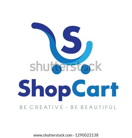 Shopping Cart, Electronic commerce, Shop Logo Vector Inspiration