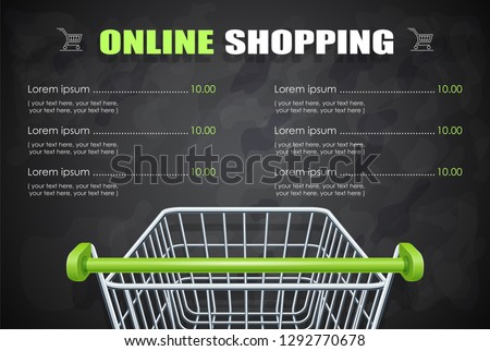 Shopping cart for supermarket products. Shop equipment. Realistic market trolley. Side view. Dark background. EPS10 vector illustration.