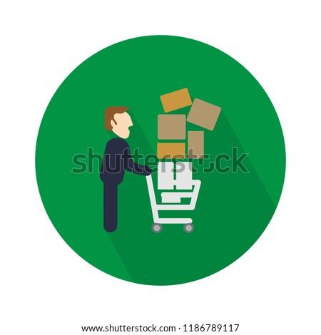 shopping cart full icon. shopping trolley illustration logo - shopping store sign symbol