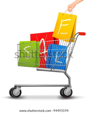Shopping cart full of shopping bags with a sale label. Vector