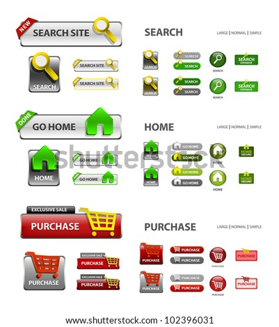 shopping cart, home and search icons / collection of vector icons and buttons - web elements