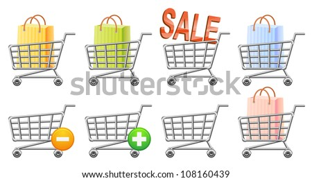shopping cart icon; button; sale; isolated vector illustration