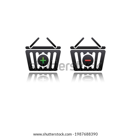 shopping cart icon. flat illustration add and subtract shopping cart vector icon for web
