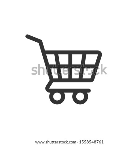 Shopping cart icon in flat style. Trolley vector illustration on white isolated background. Basket business concept.