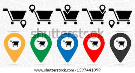 Shopping cart icon in location set. Simple glyph, flat illustration element of web, minimalistic theme icons