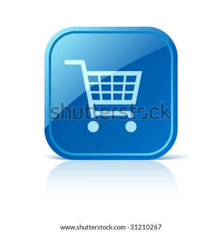 Shopping cart icon on blue web button