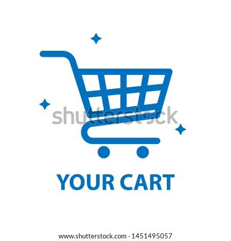 Shopping cart icon. Retail business logotype. Online shipping web button design.