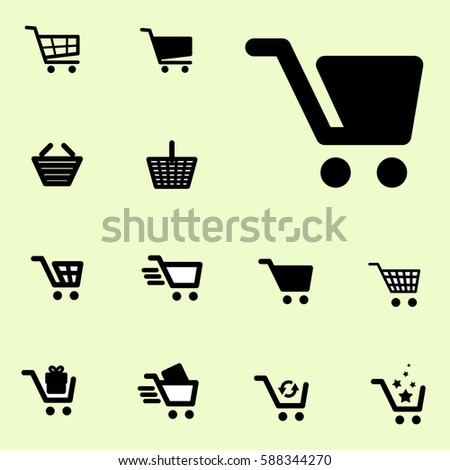 Shopping Cart Icon Set Isolated on light Coloured Background