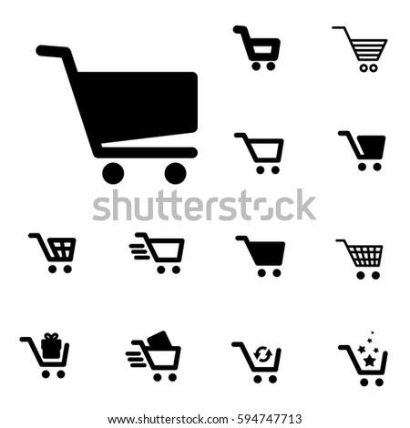 Shopping Cart Icon Set Isolated on light Coloured Background
