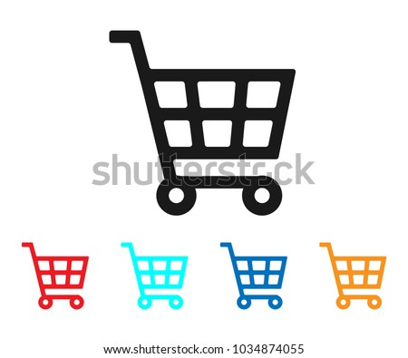 Shopping Cart icon Vector. Cart icon. Shopping symbol, flat vector sign isolated on white background.  black shopping cart sign, Simple vector illustration for graphic and web design.