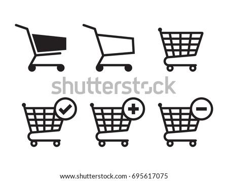 Shopping cart icons set. Black on a white background