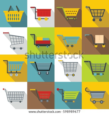 Shopping cart icons set. Flat illustration of 16 shopping cart vector icons for web