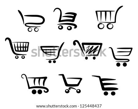Shopping cart icons set for business and commerce projects, such as idea of emblems. Jpeg version also available in gallery