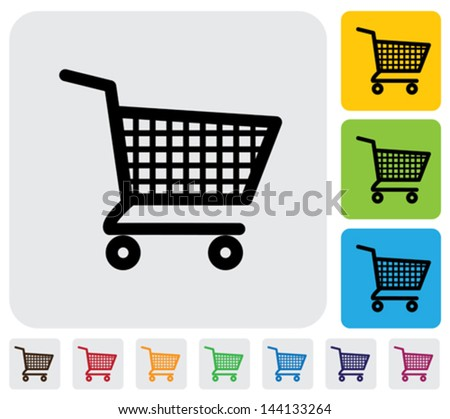Shopping cart icons ( signs ) for online purchases- vector graphic. The illustration has simple colorful icons on green, orange & blue backgrounds & is useful for websites, blogs,  printing, etc