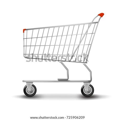 Shopping cart isolated on white background. flat
