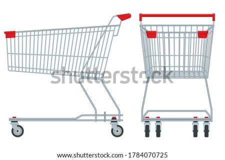 Shopping cart isolated on white background. Shopping trolley side and front view.