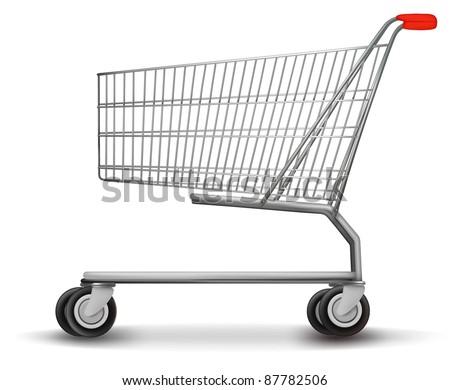 Shopping cart isolated on white background. Vector illustration.