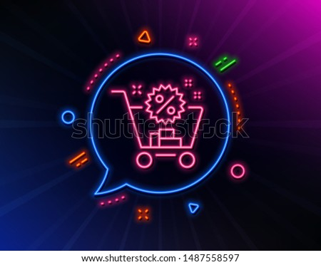 Shopping cart line icon. Neon laser lights. Sale discounts sign. Clearance symbol. Glow laser speech bubble. Neon lights chat bubble. Banner badge with shopping cart icon. Vector