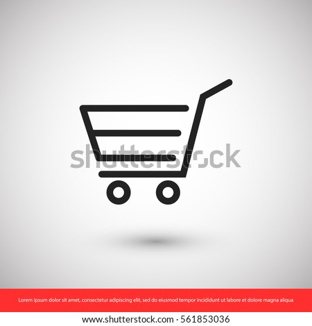 Shopping cart, linear icon. One of a set of linear web icons