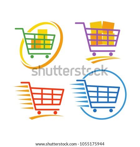 Shopping Cart Logo Design Vector Set. Retail Store Logo