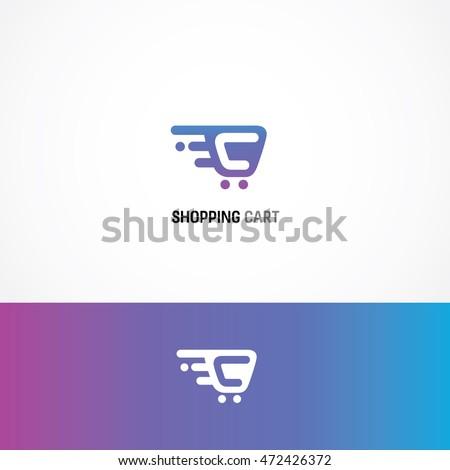 shopping cart logo icon, illustration