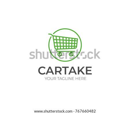 Shopping Cart Logo Template. Trolley Line Vector Design. E-commerce Illustration