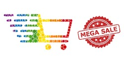 Shopping cart mosaic icon of circle items in different sizes and spectrum colored color tinges, and Mega Sale scratched rosette stamp seal. A dotted LGBT-colored Shopping cart for lesbians, gays,