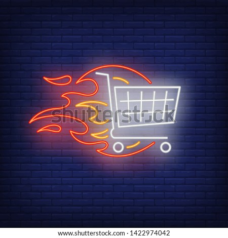 Shopping cart on fire neon sign. Shopping, discount, offer, sale, supermarket. Hot sale concept. Vector illustration in neon style for shop advertising, online shop, web app