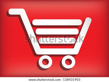 shopping cart on red