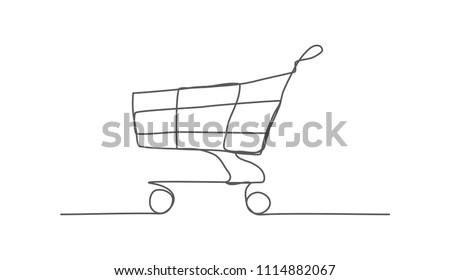 Shopping Cart. One line drawing.