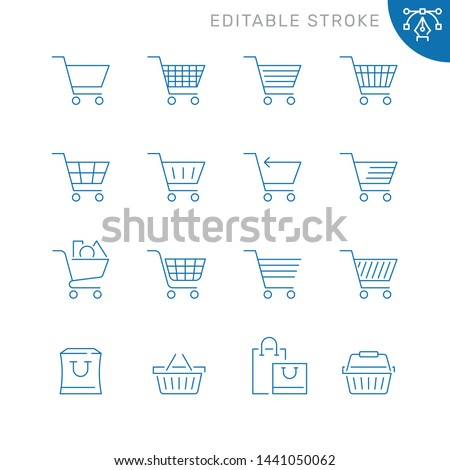 Shopping cart related icons. Editable stroke. Thin vector icon set