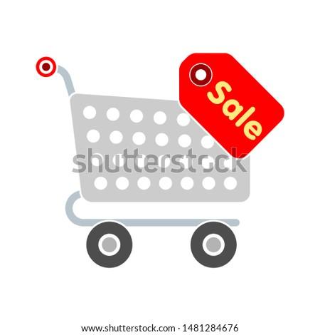 shopping cart saling icon. flat illustration of shopping cart saling vector icon. shopping cart saling sign symbol