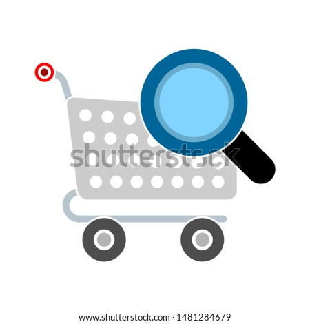 shopping cart searching icon. flat illustration of shopping cart searching vector icon. shopping cart searching sign symbol