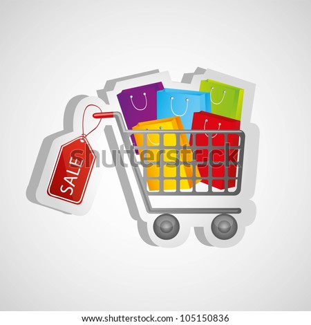 shopping cart sticker kits, isolated on white background, vector illustration