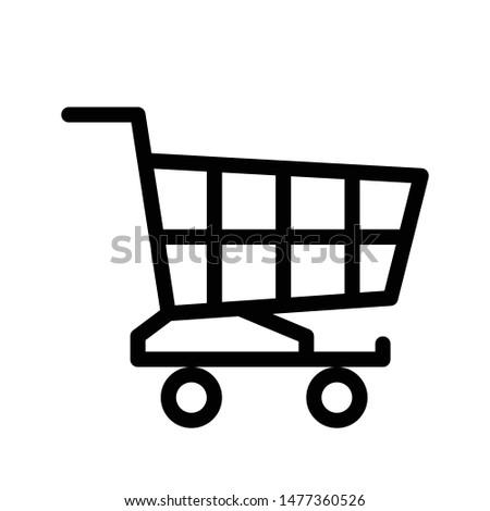 Shopping cart thin line icon. Supermarket shopping trolly outline icon. Editable stroke vector.