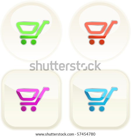 Shopping cart. Vector button.