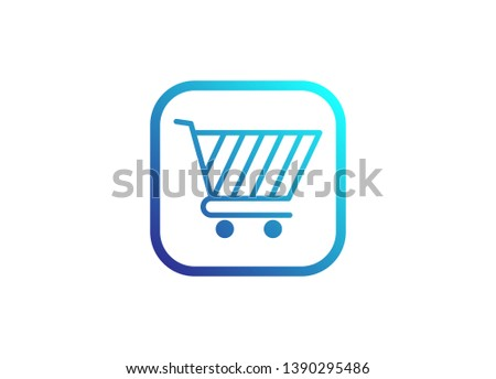 Shopping cart vector icon. Blue gradient color illustration.