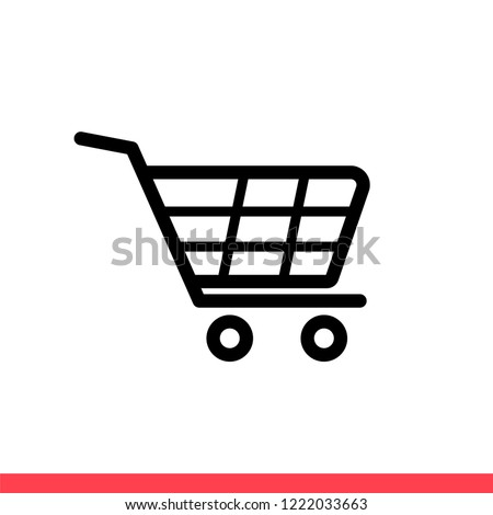 Shopping cart vector icon, purschase symbol. Simple, flat design for web or mobile app
