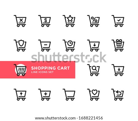 Shopping cart vector line icons. Simple set of outline symbols, graphic design elements. Line icons