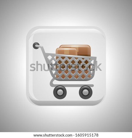 Shopping cart vector, shopping cart isolated for button design.