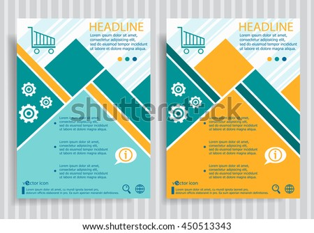 Shopping cart web symbol on vector brochure flyer design layout template. Business modern template