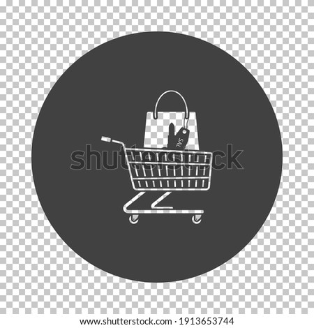 Shopping Cart With Bag Of Cosmetics Icon. Subtract Stencil Design on Tranparency Grid. Vector Illustration.