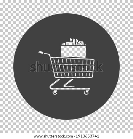 Shopping Cart With Bag Of Food Icon. Subtract Stencil Design on Tranparency Grid. Vector Illustration.