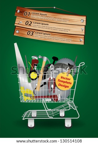 Shopping cart with Carpentry Equipment, construction hardware tools collage with sign board