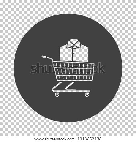 Shopping Cart With Clothes (Shirt) Icon. Subtract Stencil Design on Tranparency Grid. Vector Illustration.