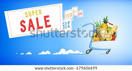 Shopping cart with foodstuff. Supermarket equipment for buying products. Shop trolley. Blue background. Vector illustration.