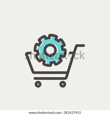 shopping cart with gear icon