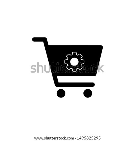 Shopping cart with gears. Shopping cart icon vector black. Shopping cart icon. Shopping cart.