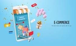 Shopping cart with gift and confetti for online shop