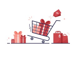 Shopping cart with gift boxes, shopping bag. Presents with bow and ribbon. E-shop. Sale, coupon and discount. Fast home delivery, goods order and purchase. Flat style. Red. Eps 10